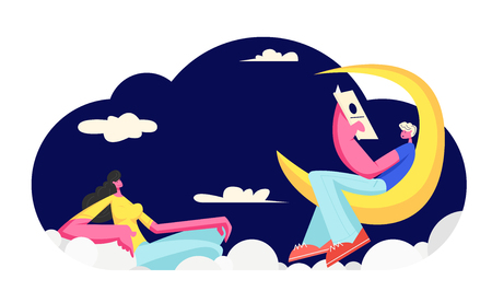 Young Woman Listen Man Reading Poetry Sitting on Moon. Love Dating. Happy Couple in Loving Relations Spending Happy Time Together, Sweet Life Moments, People Flirting. Cartoon Flat Vector Illustration