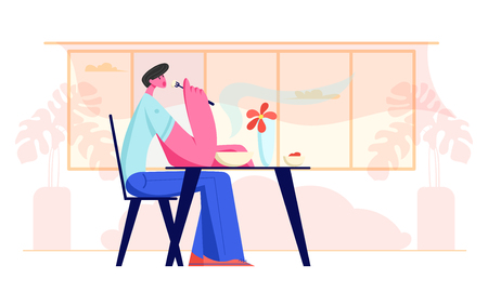 Young Man Sitting at Table in Restaurant or Cafe Having Meal. Hungry Male Character Eating Food. Hospitality Service, Gastronomy, Business Lunch Time, Relaxing Person. Cartoon Flat Vector Illustration