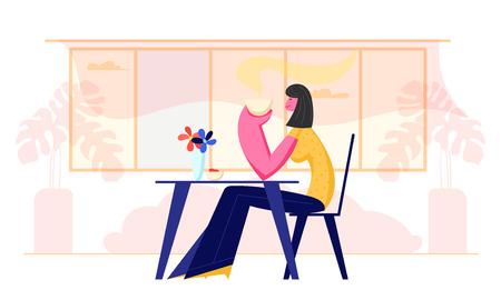 Jonge vrouw die restaurant of café bezoekt. Vrouwelijke karakter zittend aan tafel met koffiekopje in handen drinken van warme drank. Meisje heeft ontspannende vrije tijd in cafetaria Cartoon platte vectorillustratie