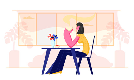 Young Woman Visiting Restaurant or Cafe. Female Character Sitting at Table Holding Coffee Cup in Hands Drinking Hot Beverage. Girl Have Relaxing Sparetime in Cafeteria Cartoon Flat Vector Illustration