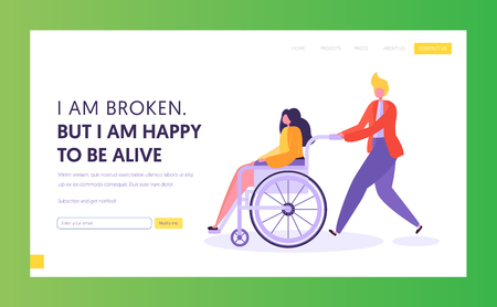 Man Pushing Young Disabled Girl Sitting in Wheelchair. Male Character Support his Friend, Handicapped Person Enjoying Full Life. Website Landing Page, Web Page Cartoon Flat Vector Illustration, Banner
