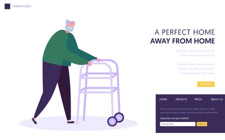 Hombre mayor, abuelo anciano moviéndose con la ayuda de un andador de ruedas delanteras. Walking Frame Metal Tool para personas mayores Going Ability Página de inicio del sitio web, Ilustración de Vector plano de dibujos animados de página web, Banner Ilustración de vector
