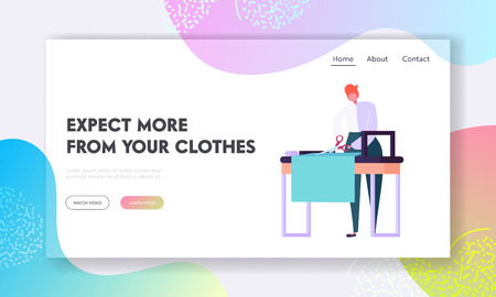 Male Dressmaker Making Out Clothes on Table, Clothing Designer or Tailor Working at Atelier, Young Man Sewer or Garment Designer Website Landing Page, Web Page Cartoon Flat Vector Illustration, Banner