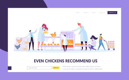 Chicken Poultry Production Factory Machine. Characters Making Egg Machinery Packing Process at Manufacture Line. Flowchart Equipment. Website Landing Web Page, Cartoon Flat Vector Illustration, Banner