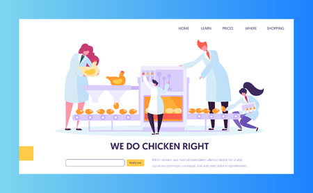 Poultry Factory. Chickens Laying Eggs on Conveyor Belt, Worker Collect them to Package. Metaphor of Series Production Farm Line. Website Landing Page, Web Page Cartoon Flat Vector Illustration, Banner Illusztráció