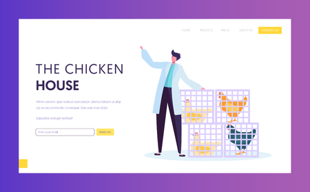 Poultry Farm in Wearing White Robe Standing near Baskets with Alive Chickens. Food Industry, Hen Eggs, Meat Feathers Production. Website Landing Page, Web Page Cartoon Flat Vector Illustration, Banner Illustration