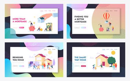 Hypotheek en huis kopen Concept Website Landing Page Templates Set. Lener die de overeenkomst voor onroerendgoedlening betaalt. Home Spaarvarken, Krediet. Webpagina Cartoon platte vectorillustratie, banner Vector Illustratie