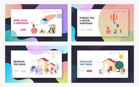 Mortgage and Buying House Concept Website Landing Page Templates Set. Borrower Making Payment for Real Estate Loan Agreement. Home Piggy Bank, Credit. Web Page Cartoon Flat Vector Illustration, Banner Vettoriali