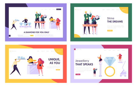 Diamond Producing and Selling in Jewelry Shop Website Landing Page Templates Set, Seller Offer Bijou to Customer, Woman Character Choose Luxury Ring, Web Page Cartoon Flat Vector Illustration, Banner