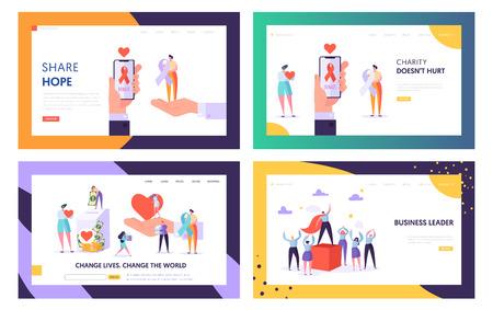Spende, Wohltätigkeit, Freiwilligenarbeit und Führung Website Landing Page Templates Set, Welt verändern, gesundes transplantierbares Organ oder Geld spenden. Webseiten-Karikatur-flache Vektor-Illustration, Banner
