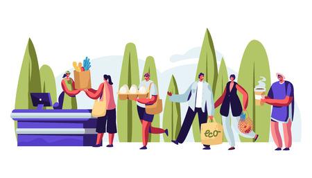 Persone in coda con imballaggi riutilizzabili nelle mani che visitano il negozio all'aperto. I personaggi maschili e femminili utilizzano l'imballaggio ecologico per fare acquisti felici di acquisti e acquisti. Cartoon piatto illustrazione vettoriale