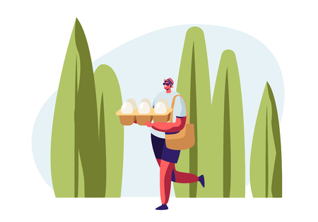 Smiling Male Character Carrying Eggs Packaging in Hands on Summertime Landscape Background. Problem of Environment Pollution, Man Shopping with Eco Packing in Store. Cartoon Flat Vector Illustration Illustration