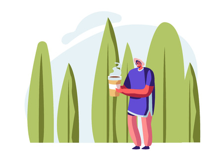 Young Smiling Man Carrying Eco Paper Package Cup for Beverage in Hands on Summer Landscape Background. Character Using Ecology Friendly Packing for Food and Drinks. Cartoon Flat Vector Illustration