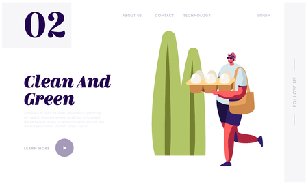Man Carry Egg Packaging in Hands on Summertime Landscape Background. Problem of Environment Pollution, Shopping with Eco Packing Website Landing Page, Web Page Cartoon Flat Vector Illustration, Banner Illustration