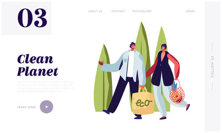 Man and Woman Carry Products in Paper and String Bags. Eco Natural Packing for Goods. Ecologically Safety Containers for Food. Website Landing Page, Web Page Cartoon Flat Vector Illustration, Banner