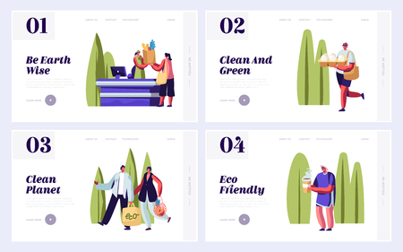 Eco Packing Website Landing Page Templates Set. People Using Eco Packing for Shopping and Purchases in Grocery Store, Ecology Protection Concept Web Page. Cartoon Flat Vector Illustration, Banner