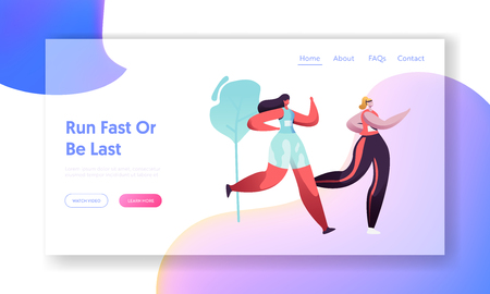 Young Healthy Women Running Marathon Distance on Nature Landscape Background. Sport Activity, Leisure. Girls Jogging Outdoors Website Landing Page, Web Page Cartoon Flat Vector Illustration, Banner