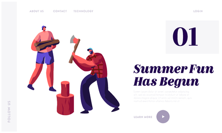 Men Chopping Wood. Guy with Ax Trying to Cut Log, Friend Hold Timbers. People Spend Time Outdoors in Village. Active Lifestyle. Website Landing Page, Web Page Cartoon Flat Vector Illustration, Banner