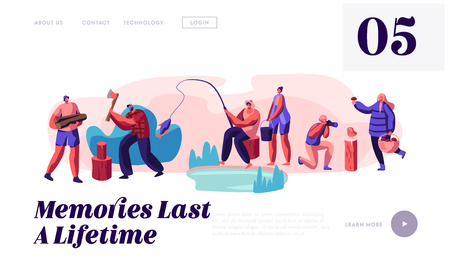 Men and Women Relaxing, Fishing, Taking Pictures, Pick Up Mushrooms, Chopping Woods Outdoor. Active Sparetime at Nature, Camping Website Landing Page, Web Page Cartoon Flat Vector Illustration, Banner