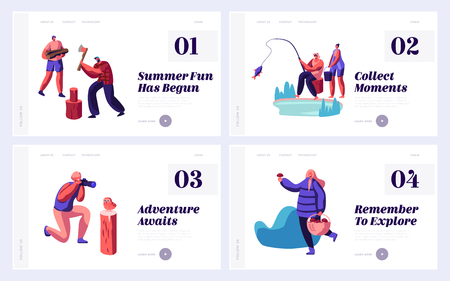 People Have Outdoors Active Rest at Nature Website Landing Page Templates Set. Male and Female Characters Hobby at Leisure Time, Fishing, Photography, Web Page Cartoon Flat Vector Illustration, Banner