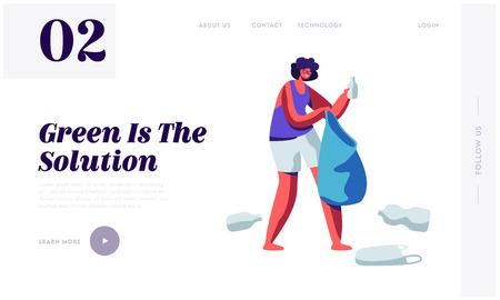 Personaje femenino recogiendo basura plástica y basura en una bolsa. Detener el concepto de contaminación, protección de la ecología, página de destino del sitio web de la solución de reciclaje, ilustración de Vector plano de dibujos animados de página web, banner