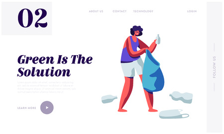 Female Character Picking Up Plastic Trash and Litter into Bag. Stop Pollution Concept, Ecology Protection, Recycling Solution Website Landing Page, Web Page Cartoon Flat Vector Illustration, Banner