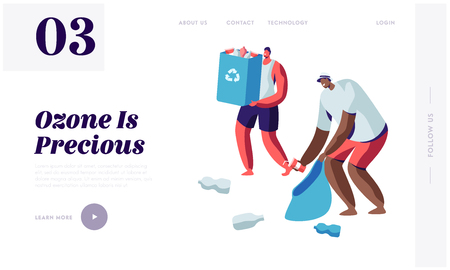 Couple of Male Characters, Volunteer Collecting Trash into Bags with Recycling Sign. Ecology Protection, Earth Pollution Problem Website Landing Page, Web Page Cartoon Flat Vector Illustration, Banner