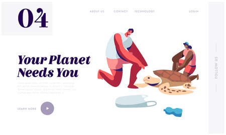 Volunteers Saving Turtle on Polluted Seaside. Ecology and Animals Protection Movement, Stop Plastic Littering, Waste Recycling Website Landing Page, Web Page Cartoon Flat Vector Illustration, Banner Illustration