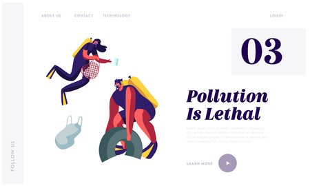 Plastic Pollution of Sea with Garbage. Scuba Divers Collect Trash and Wastes from Ocean Bottom. Ecology Protection Concept Website Landing Page, Web Page Cartoon Flat Vector Illustration, Banner