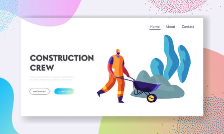Bearded Worker in Helmet and Orange Uniform Pushing Wheelbarrow on Road Repair or Building Construction Process. Roadworks Website Landing Page, Web Page Cartoon Flat Vector Illustration, Banner