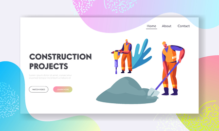 Workers Characters with Jackhammer and Shovel Removing Old Asphalt and Put New Pavement. Road Repair, Infrastructure Construction Website Landing Page, Web Page Cartoon Flat Vector Illustration Banner Ilustracja