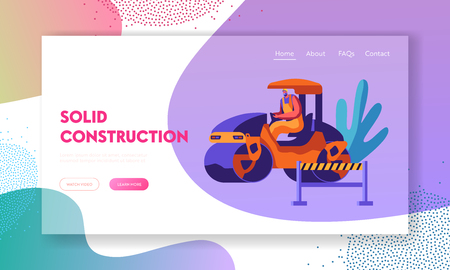 Man in Steamroller Road Repair with Heavy Vehicle. Roadwork, Asphalt Paving Machinery. Pavement Compactor, Construction Industry Website Landing Page, Web Page Cartoon Flat Vector Illustration, Banner