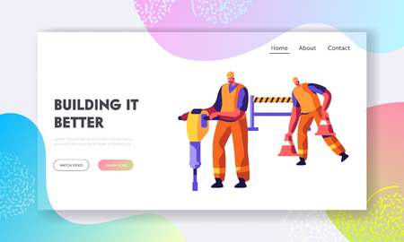 Workers Characters with Jackhammer and Traffic Cones Prepare Road for Repair and Asphalt Maintenance Infrastructure Construction Website Landing Page, Web Page Cartoon Flat Vector Illustration, Banner