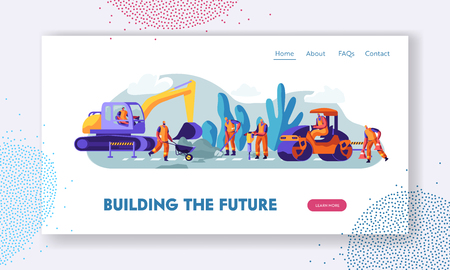 People and Machinery at Road Repairing Work Concept. Excavator and Steamroller Heavy Vehicles Making Asphalt Maintenance in City Website Landing Page, Web Page Cartoon Flat Vector Illustration, Banner Illustration
