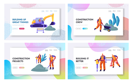 Road Repair with Excavator, Rolling Heavy Vehicle and Working People Website Landing Page Templates Set, Asphalt Machinery Maintenance Construction. Web Page Cartoon Flat Vector Illustration, Banner