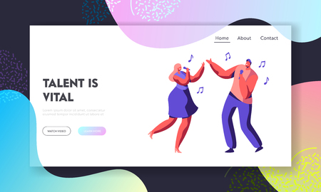 Young Couple of Male and Female Characters Singing Song with Microphones in Hands. Talent Show Duet, Karaoke Club Performance. Website Landing Page, Web Page Cartoon Flat Vector Illustration, Banner