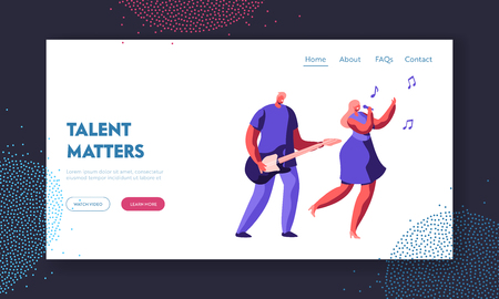 Music Band Duet Performing on Stage. Young Rock Guitar Player Accompany to Singing Girl during Entertainment or Talent Show. Website Landing Page, Web Page Cartoon Flat Vector Illustration, Banner