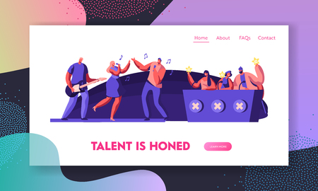 Music Band Presenting Performance on Stage in Front of Judges for Audition on Talent Show. Referee Voting with Golden Stars. Website Landing Page, Web Page Cartoon Flat Vector Illustration, Banner Illustration