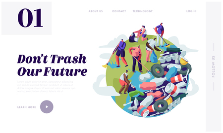 People Removing Trash from Planet. Characters Cleaning Earth Surface with Rakes. Recycling and Ecology, Saving Planet Concept Website Landing Page, Web Page Cartoon Flat Vector Illustration, Banner