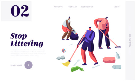 Multiracial People Raking and Sweeping Trash from Earth. Ecology Protection of Planet, Pollution, Stop Littering Eco Movement Website Landing Page, Web Page Cartoon Flat Vector Illustration, Banner