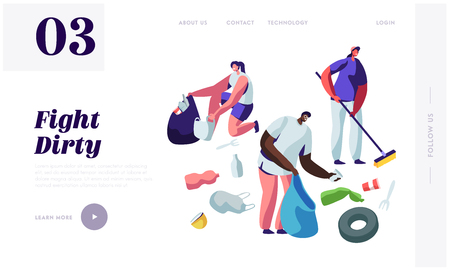 Multiracial Volunteers Characters Picking Up Litter, Planet Cleanup. People Collecting Trash into Bags, Environmental Pollution Website Landing Page, Web Page Cartoon Flat Vector Illustration, Banner  イラスト・ベクター素材