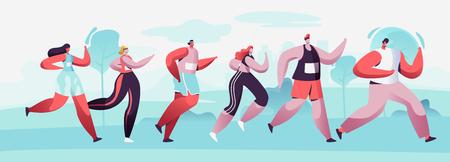 Grupo de personajes masculinos y femeninos corriendo distancia de maratón en Raw. Competición de jogging deportivo. Atleta velocista deportistas y deportistas corren maratón, carrera de velocidad. Ilustración de Vector plano de dibujos animados