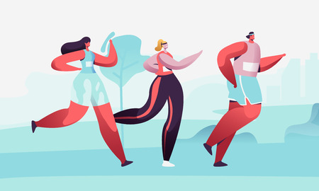 City Marathon. Group of Diverse People in Sports Wear Running on Nature Landscape Background. Summertime Outdoor Sport Activity. Healthy Lifestyle, Jogging and Sport. Cartoon Flat Vector Illustration 일러스트