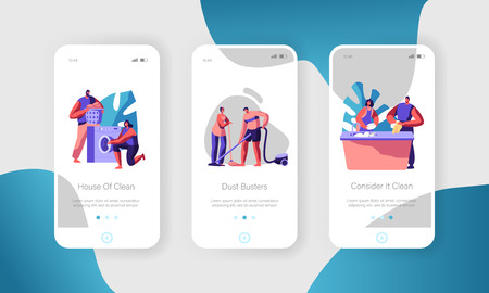 Man and Woman Cleaning Home. Loading Clothes to Washing Machine, Vacuuming Floor and Clean Dishes. Mobile App Page Onboard Screen Set Concept for Website or Web Page Cartoon Flat Vector Illustration