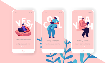Hiring and Recruitment Concept for Website or Web Page. People Searching Job, Online Interview, Recruitment Agency Service Template, Mobile App Page Onboard Screen Set Cartoon Flat Vector Illustration Иллюстрация