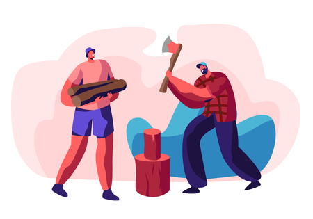 Couple of Young Men Chopping Wood. Bearded Guy with Ax in Hands Trying to Cut Log, Friend Holding Timbers. People Spend Time Outdoors on Nature. Active Lifestyle. Cartoon Flat Vector Illustration