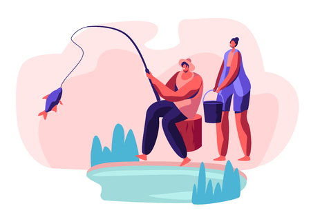 Fisherman Sitting on Coast of Pond Catching Fish, Woman Stand with Bucket. People Relaxing on Nature, Weekend Leisure, Family Resting Outdoors. Man Fishing on Lake Cartoon Flat Vector Illustration Illusztráció