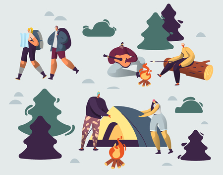 Company of Young People Spend Time at Summer Camp in Deep Forest. Set Up Tent, Playing Guitar at Campfire. Men and Woman Friends Hiking with Backpack on Vacation. Cartoon Flat Vector Illustration