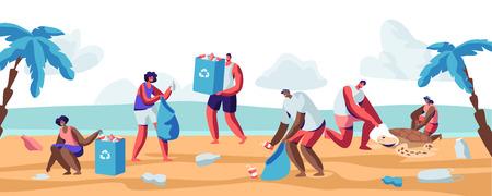 Menschen sammeln Müll in Taschen am Strand. Verschmutzung der Küste mit verschiedenen Arten von Müll. Freiwillige säubern Abfälle an der Ozeanküste. Ökologie-Schutz-Konzept-Karikatur-flache Vektor-Illustration Vektorgrafik