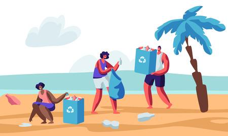 Personajes humanos multirraciales recogiendo basura en la playa durante la limpieza costera. Voluntarios recogiendo basura en bolsas con signo de reciclaje. Problema de contaminación ambiental. Ilustración de Vector plano de dibujos animados